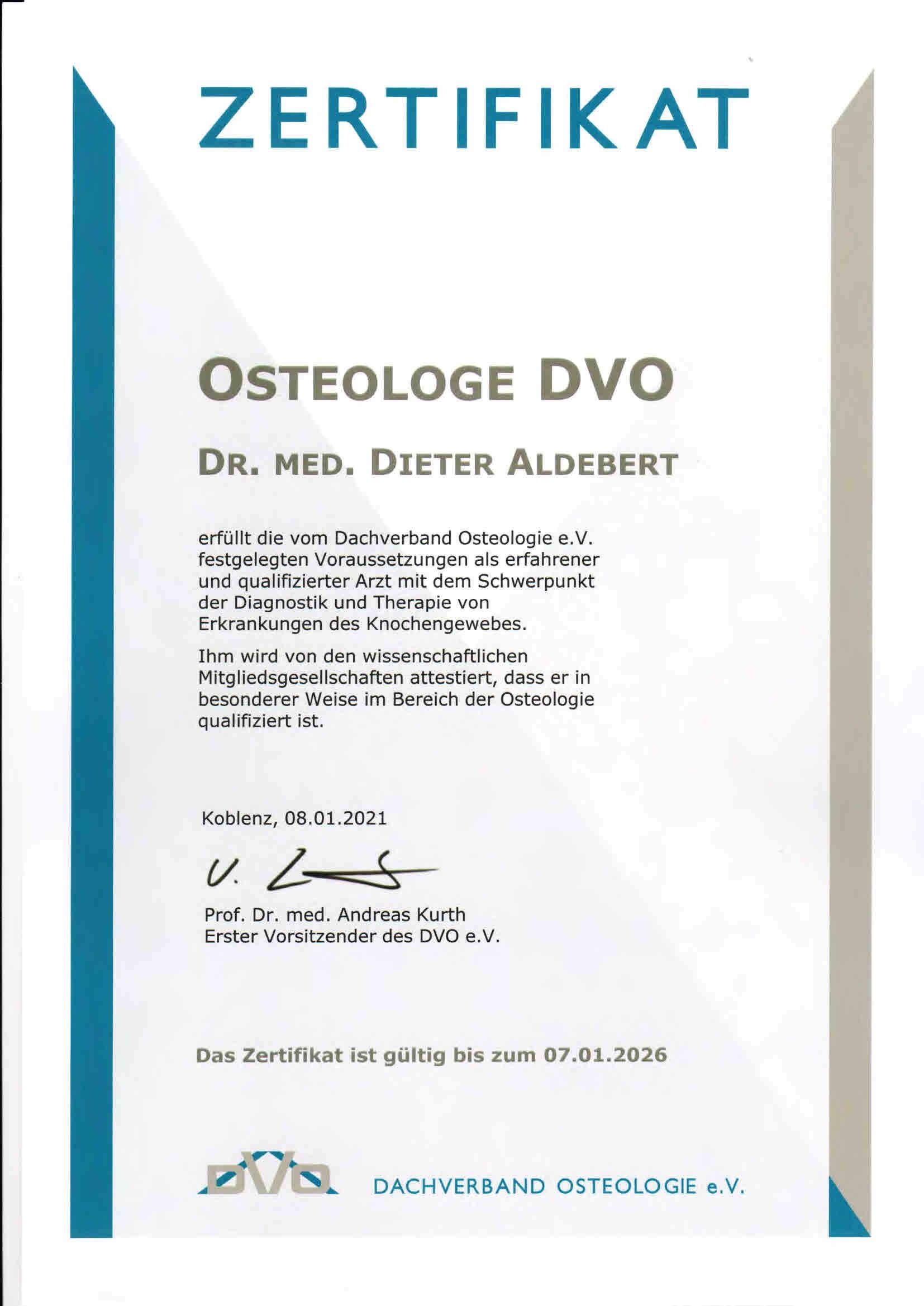 Osteologie Zertifikat
